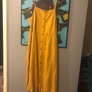 Spaghetti strap mustard yellow midi dress